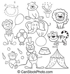 Coloring book with circus elements - Outlined cute cartoon...
