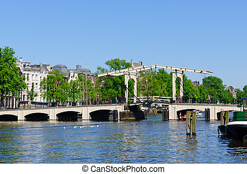 Magere Brug in Amsterdam, Netherlan - The Magere Brug is a...