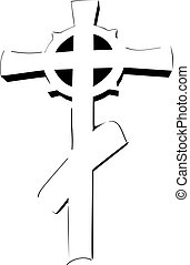 Drawing Orthodox cross on a white background icon