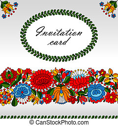 Hungarian traditional folk ornament - Decorative floral...