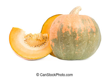 Cut pumpkin Isolated on white background