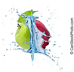 Fresh apples - Red and green apple in water splash