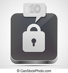 Vector lock app icon with gray bubble speech. Eps10