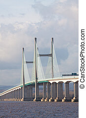 Centre span of the new Severn Bridge , UK - Central span of...
