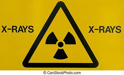 X-ray warning sign - Close up of an x-ray warning sign