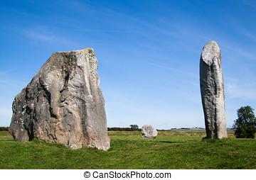 tres, monolitos, Avebury, piedra, círculo