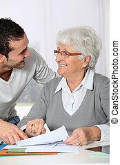 婦女, 文書工作, 年輕, 年長, 幫助, 人