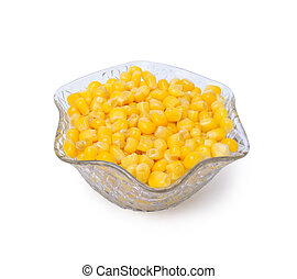 Sweetcorn in crystal bowl isolated on a white background