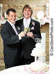 Gay Wedding - Champagne Toast - Gay couple giving champagne...