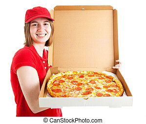 Teen Girl Delivers Pizza - Teenage girl has her first job,...