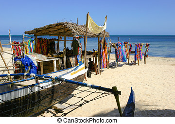 Souvenir shop on the beach of Ifaty, southwestern Madagascar