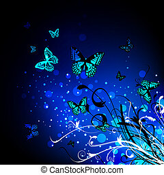 Butterfly floral background - Bright Butterfly floral magic...