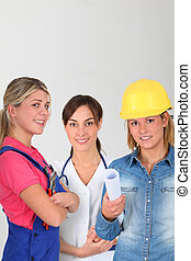 Young women on professional training