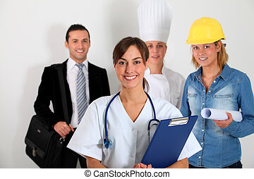 Group of workers on white background
