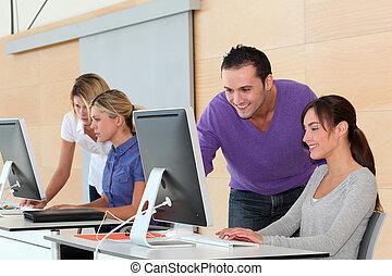 oficina, trabajadores, empresa / negocio, entrenamiento