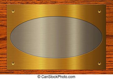 Nameplate. - Combining the metal plate on wooden background