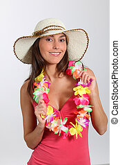 Woman with hawaiian outfit