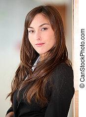 Closeup of beautiful young businesswoman