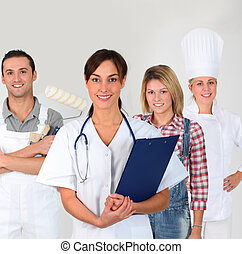 Group of young adults on business training