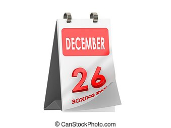 Calendar December 26 - Rendered artwork with white...