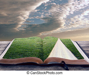 Open bible with pathway - Open bible with grassy field and...