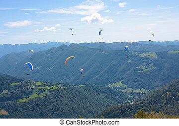 Para gliding in Julian Alps, Slovenia, Europe