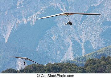 Hang gliding in Julian Alps, Slovenia, Europe