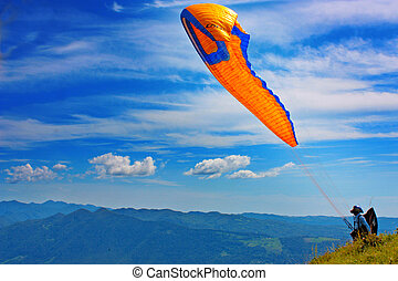 Para gliding in Julian Alps, Slovenia, Europe