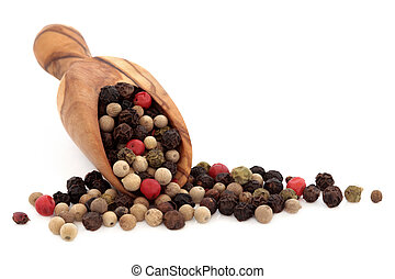 Peppercorns - Mixed black, green, pink and light brown...