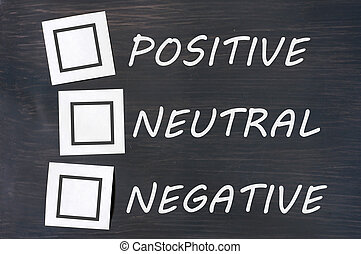 Feedback positive neutral negative on a chalkboard with...