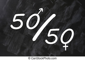 Fifty percent concept of gender equal opportunities - fifty...