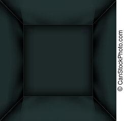Black simple empty room interior
