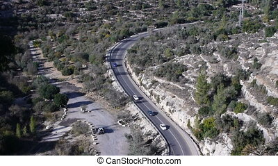 Mountain road in Israel time lapse