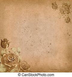 Grunge paper with roses - Old grunge paper background with...