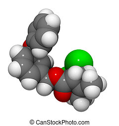 Permethrin - Chemical structure of a Permethrin molecule...