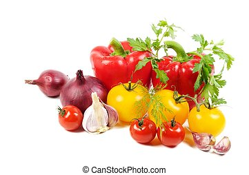 Healthy food - Fresh vegetables , on a white background