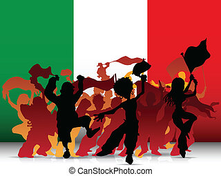 Italy Sport Fan Crowd with Flag