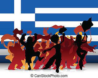 Greece Sport Fan Crowd with Flag