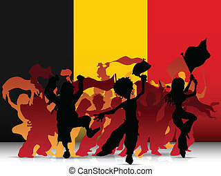 Belgium Sport Fan Crowd with Flag - Vector - Belgium Sport...