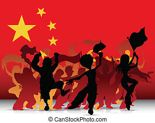 China Sport Fan Crowd with Flag