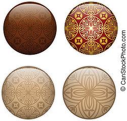 Glass Circle Button Basque Textures