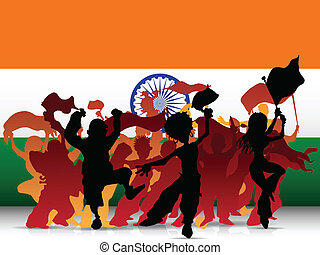 India Sport Fan Crowd with Flag - Vector - India Sport Fan...