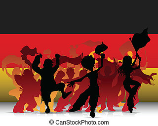 Germany Sport Fan Crowd with Flag - Vector - Germany Sport...