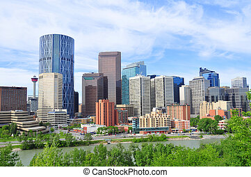 Calgary skyline - Bow Tower towering over Calgary Alberta...