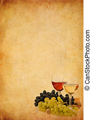 wine in glass and grape on old paper background - wine in...