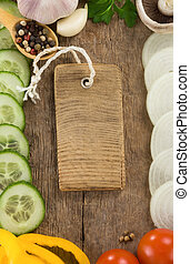 healthy vegetable food at wood background board