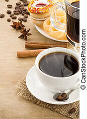 taza, café, frijoles, dulces