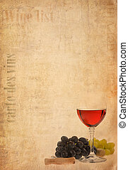 wine in glass and fruit on old paper background - wine in...