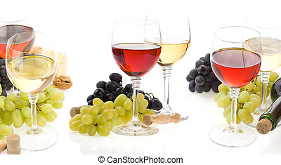 wine in glass and grape isolated on white - wine in glass...