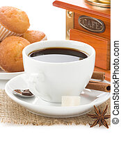 cup of coffee with beans isolated on white - cup of coffee...